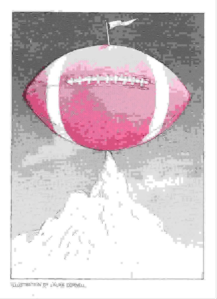 An illustration of a football on top of a mountain peak.