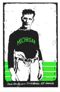 Old fashion illustrator of Michigan football player in uniform.